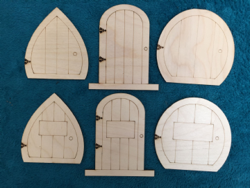 Laser Cut Wooden Fairy Elf Hobbit Doors 6 Kinds - Assorted Pack of 12 Doors